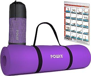 POWRX Gymnastikmatta Yogamatta Premium inkl. bärrem och väska samt träningsposter I sportmatta ftalatfri 183 x 60 x 1 cm I...
