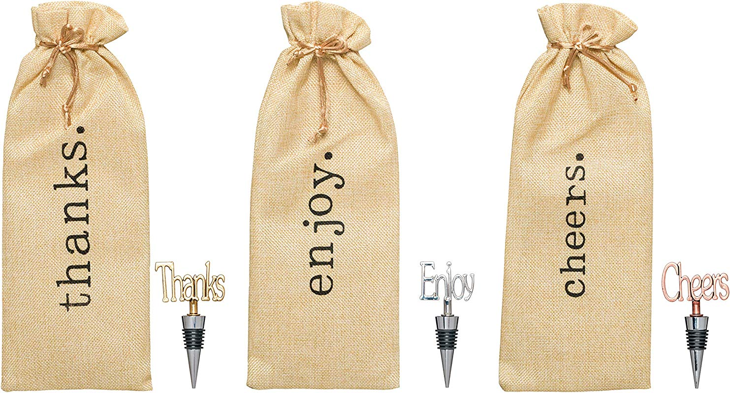 Wine Bottle Gift Bags And Wine Stoppers Set Of 3 Thanks Cheers Enjoy