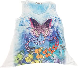 Colorful Butterfly Ladies V-Neck 3D Graphic Butterfly T-Shirt w/Rhinestones