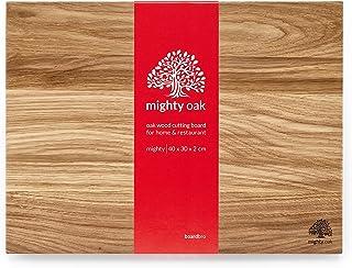 Mighty Oak Cutting Board par Boardbro | 40 x 30 x 2 cm | Grande Planche À Découper en Chêne Véritable pour la Cuisine