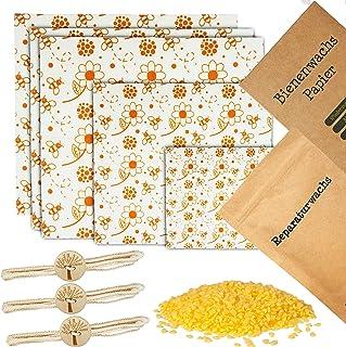 Wiederverwendbare Bienenwachstücher für Lebensmittel XL Set - inkl. Reparaturwachs, Deutscher Anleitung und praktische Verschlussschnüre - Plastikfreie Wachspapiere aus Bienenwachs Blumen, 5er Set