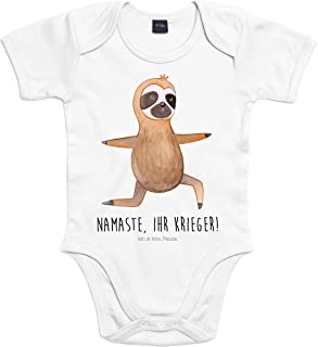 Mr. & Mrs. Panda Mr. & Mrs. Panda Unisex, Strampler, 6-12 Monate Baby Body Faultier Yoga mit Spruch - Farbe Transparent
