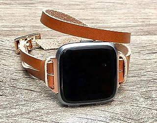 Rose Gold & Bronze Leather Bracelet For Fitbit Versa Smart Watch Handmade Adjustable Double Wrap Strap Fitbit Versa Fitness Watch Band Rose Gold Women Jewelry Fitbit Versa Wristband
