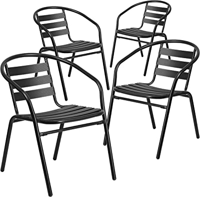 amazon retro side chairs with black cushion chrome and red set 40s and 50s Style Furniture flash furniture 4 pk black metal restaurant stack chair with aluminum slats