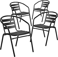 Flash Furniture 4 Pk. Black Metal Restaurant Stack Chair with Aluminum Slats - 4-TLH-017C-BK-GG