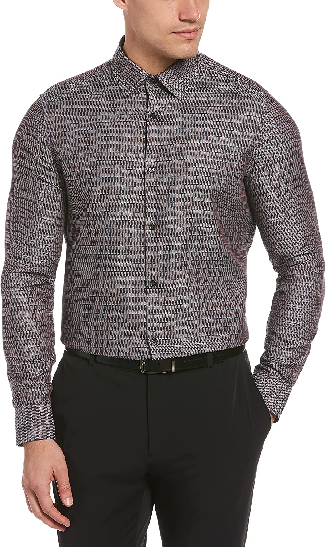 Perry Ellis Men's Slim Fit Jacquard Triangle Print Long Sleeve Button-Down Shirt