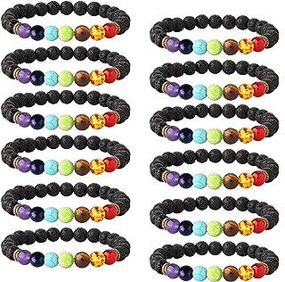 6-12PCS Lava Stone Bracelet Chakras Bead Natural Stone Bracelet Oil Diffuser Bracelet