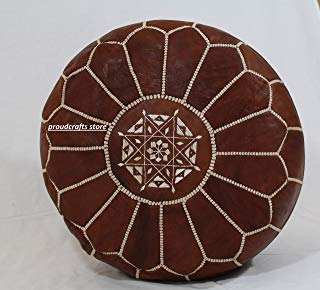 proudcrafts Moroccan Handmade Pouf Real Leather Brown unstuffed