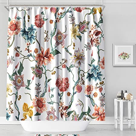 Persian Floral Pattern Tribal Texture Shower Curtain Set Waterproof Fabric Hooks