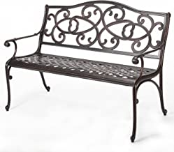 Christopher Knight Home 297261 Gael Cast Aluminum Garden Bench, Copper