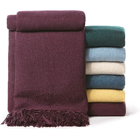 Chanasya Light Silky Solid Textured Throw Blanket w// Tassels for Couch Chair