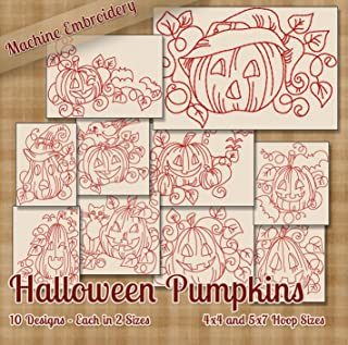 Halloween Pumpkins Redwork Embroidery Machine Designs on CD - 10 Beautiful Outline Style Patterns - 2 Sizes Each - Multiformat CD