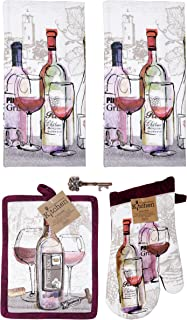 Kay Dee Tuscany Wine 5-pc Gift Set Kitchen Towels, Potholder, Oven Mitt Antique Design Key Bottle Opener (Choice Wine)