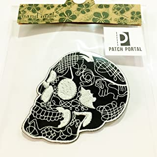 Patch Portal Black Skull Stitched Tattoo Style 3.5 Inches Biker Rocker Motorcycle Embroidered Emblem Logo Iron On Trendy E...