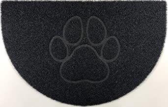 Nicoman Embossed Halfmoon Half Circle Door Mat Dirt-Trapper Jet-Washable Doormat 70x44cm (Black, PAW Shape) - Use Outdoor ...