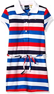 Tommy Hilfiger Girls 7185163 Adaptive Polo Dress with Magnetic Buttons and Tie Belt Short Sleeve Casual Dress - White - 5