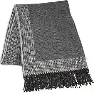 Incredibly Soft 100% Baby Alpaca Wool Sofa Throw Blanket - Woven by Hand, All Natural, Reversible Herringbone Pattern with Fringe Perfect for Bedroom or Living Room (Charcoal Grey / Silver)