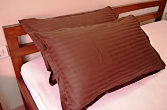 Trance Home Linen 100% Cotton Pillow Covers (18X28-inch, Chocolate Brown) - Pack of 2