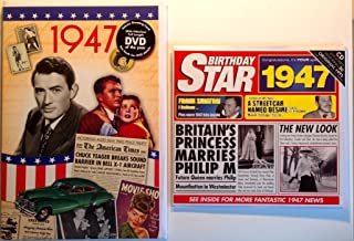 1947 Birthday Gifts Pack - 1947 DVD Film , 1947 Chart Hits CD and 1947 Birthday Card