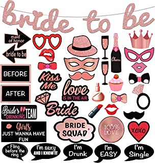 Bridal Shower Photo Booth Props. 38-Pc Pink Rose Bachelorette Party Decorations 1-of-a-Kind Design Includes: Glitter Banner, 37 Photo Props. Perfect for Bridal Party by Scapa Pro