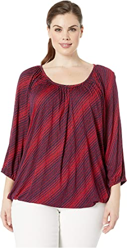 Plus Size Bias Disco Scoop Neck Top
