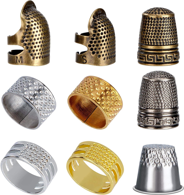Dedal de Costura Protector de Dedos, 9 Piezas Dedal de Coser Escudo de Dedo Ajustable de Metal para Costura Bordado Labor de Aguja Cosido Trabajo a Mano