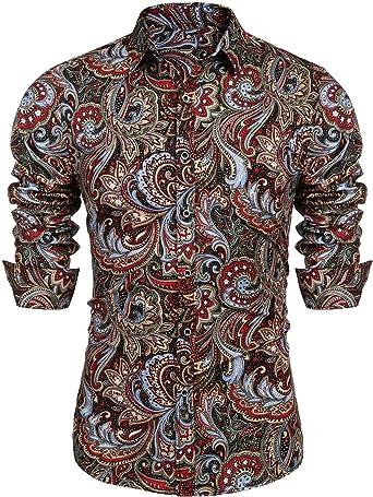 JINIDU - Camisa de manga larga con botones para hombre, diseño floral