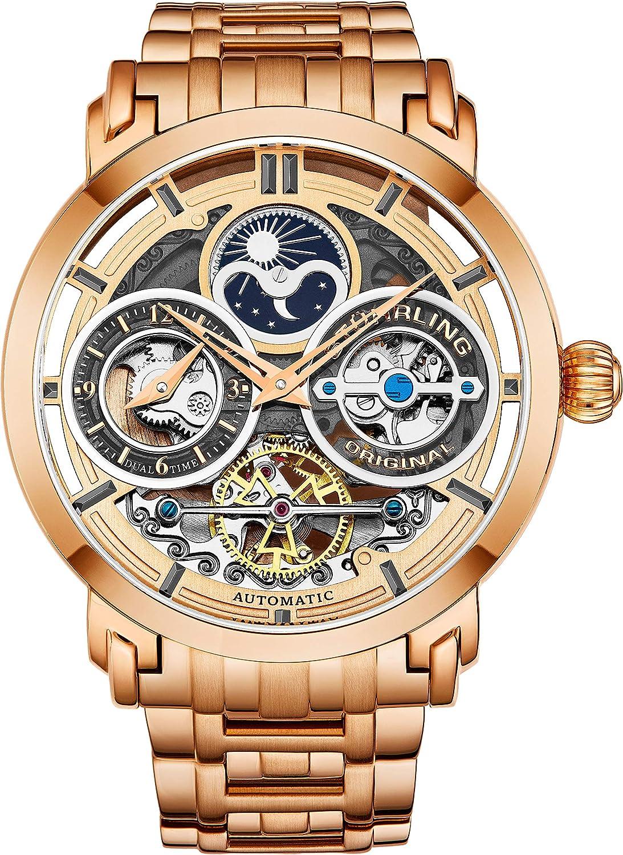 Stührling - Reloj para hombre de acero inoxidable automático, esfera de esqueleto plateada, doble tiempo, AM/PM Sun Moon, pulsera de acero inoxidable, 371B relojes para hombres Series