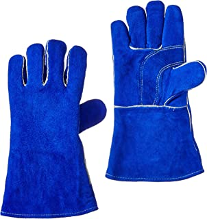 US Forge 400 Welding Gloves Lined Leather, Blue – 14""