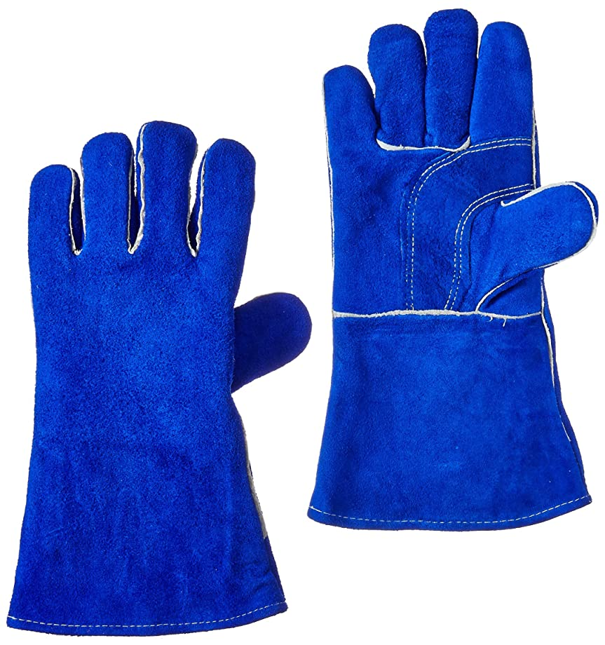 US Forge 400 Welding Gloves Lined Leather, Blue - 14