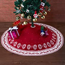 PEKACA Christmas Tree Skirt 48 Inches Red, Thick Cable Knitted Rustic Red Xmas Tree Skirt for Holiday Decor, Perfect for 5...
