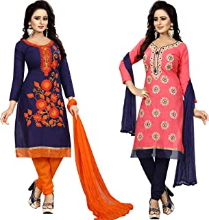 Samarth Enterprise Women's Straight Blue And Pink Dress Material (Pack of 2) (Unstitched)