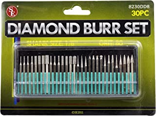 SE 8230DD8 30-Piece Set of Assorted Diamond Burrs, 80 Grit