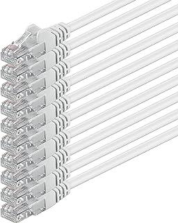 0,5m - Blanco - 10 Piezas - Cable de Red Ethernet con Conectores RJ45 CAT6 Cat 6 Cat.6 1000 Mbit/s