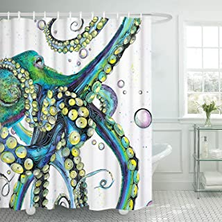 Bathroom Shower Curtain Colorful Fashion Octopus Shower Curtains Durable Fabric Bath Curtain Waterproof Bathroom Curtain with 12 Hooks