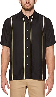 Men's Short Sleeve Point-Collar L-Shape Embroidered Shirt