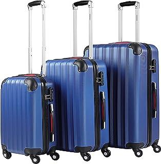 Monzana - Lot de 3 valises rigides Bleues Taille M L XL – 4 Roues 360° Poignée télescopique Anti-Rayures Verrou à Combinai...