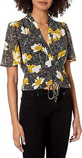 ASTR the label Women's V Neck Short Sleeve Rosie Ruched TOP, Black-Mustard Floral