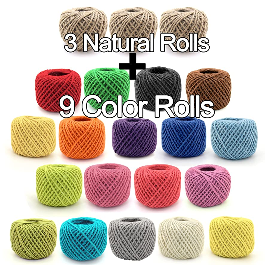 BambooMN 2700 ft 2mm Crafty Jute Twine String Hemp Jute, 3 Natural Rolls and 9 Surprise Color Rolls for Artworks, DIY Crafts, Gift Wrapping, Picture Display and Embellishments