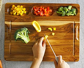 FANICHI Extra Large Teak Wood Cutting Board 17.8'' x 14'' For Kitchen, With 3 Built-In Compartments and Juice Canal, Heavy Duty Chopping Board, Thick Carving Board For Bread Fruits Meats