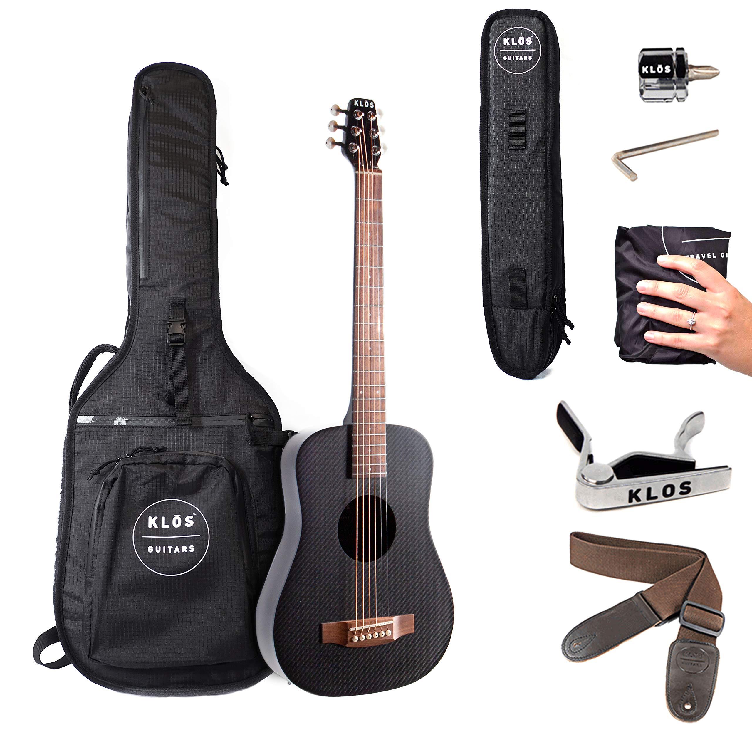 KLOS Guitars Fibra de carbono viaje guitarra acústica Paquete ...