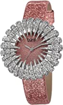 Burgi Crystal Accented Sparkling Dial Women's Watch - Crystal Filled Bezel On Glossy Leather Strap Watch - BUR112