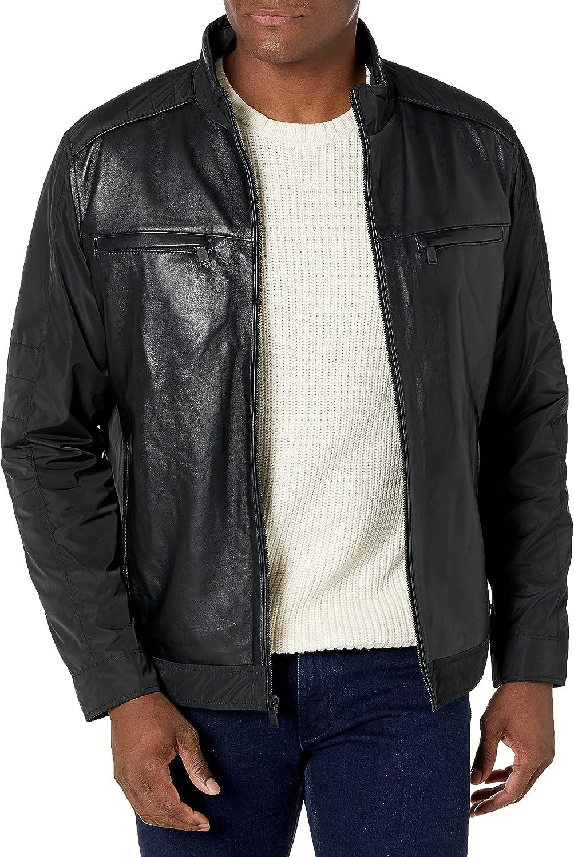 Bruno Magli mens Leather Moto Jacket