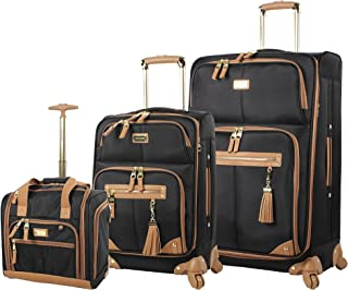 Steve Madden Designer Luggage Collection- 3 Piece Softside Expandable Lightweight Spinner Suitcases- Travel Set includes U...