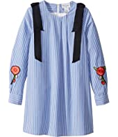 Oscar de la Renta Childrenswear - Striped Cotton Long Sleeve Dress with Floral Embroidery (Toddler/Little Kids/Big Kids)