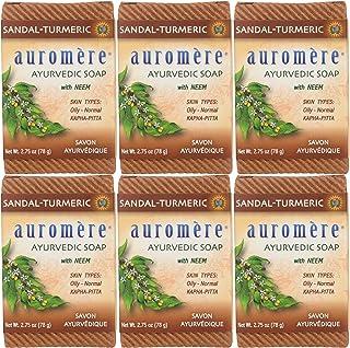 Auromere Ayurvedic Bar Soap, Sandal Turmeric - Eco Friendly, Handmade, Vegan, Cruelty Free, Natural, Non GMO (2.75 oz), 6 ...