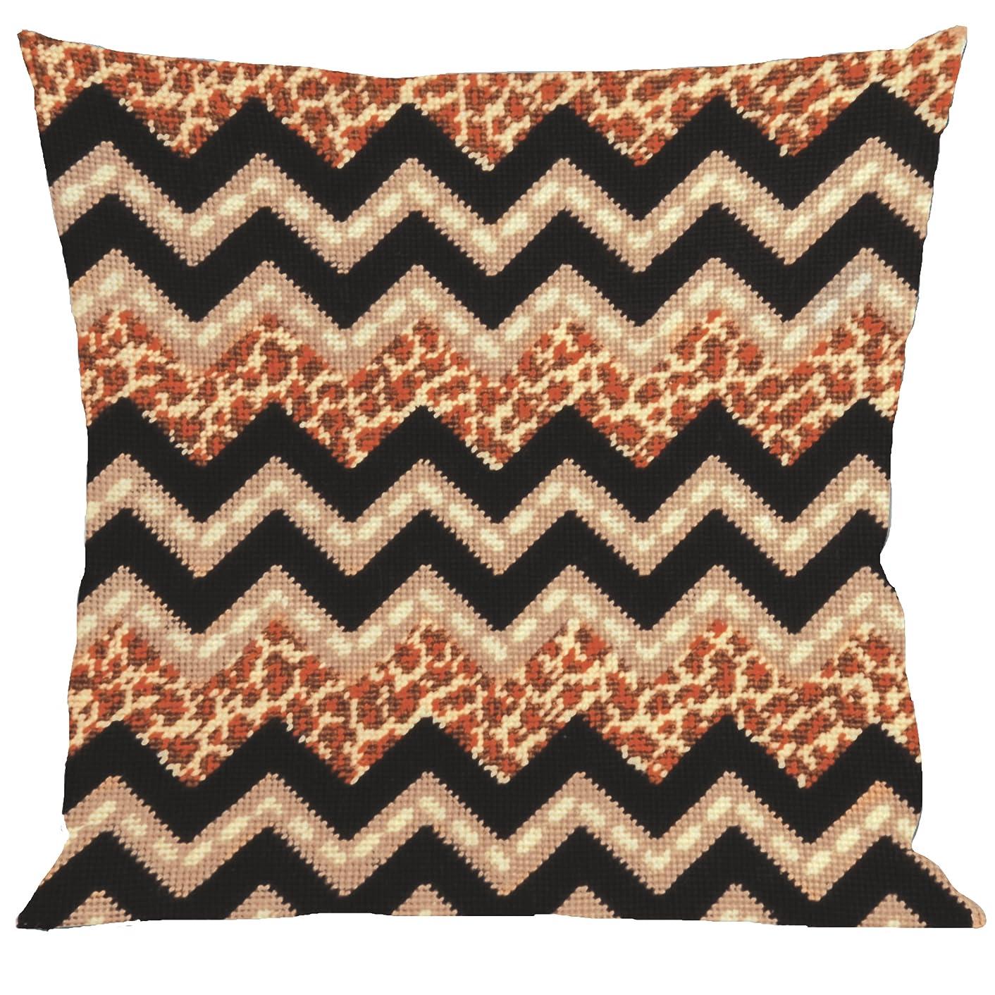 Tobin Needlepoint Kit Stitched in Yarn, 12 by 12-Inch, Leopard Zig Zag