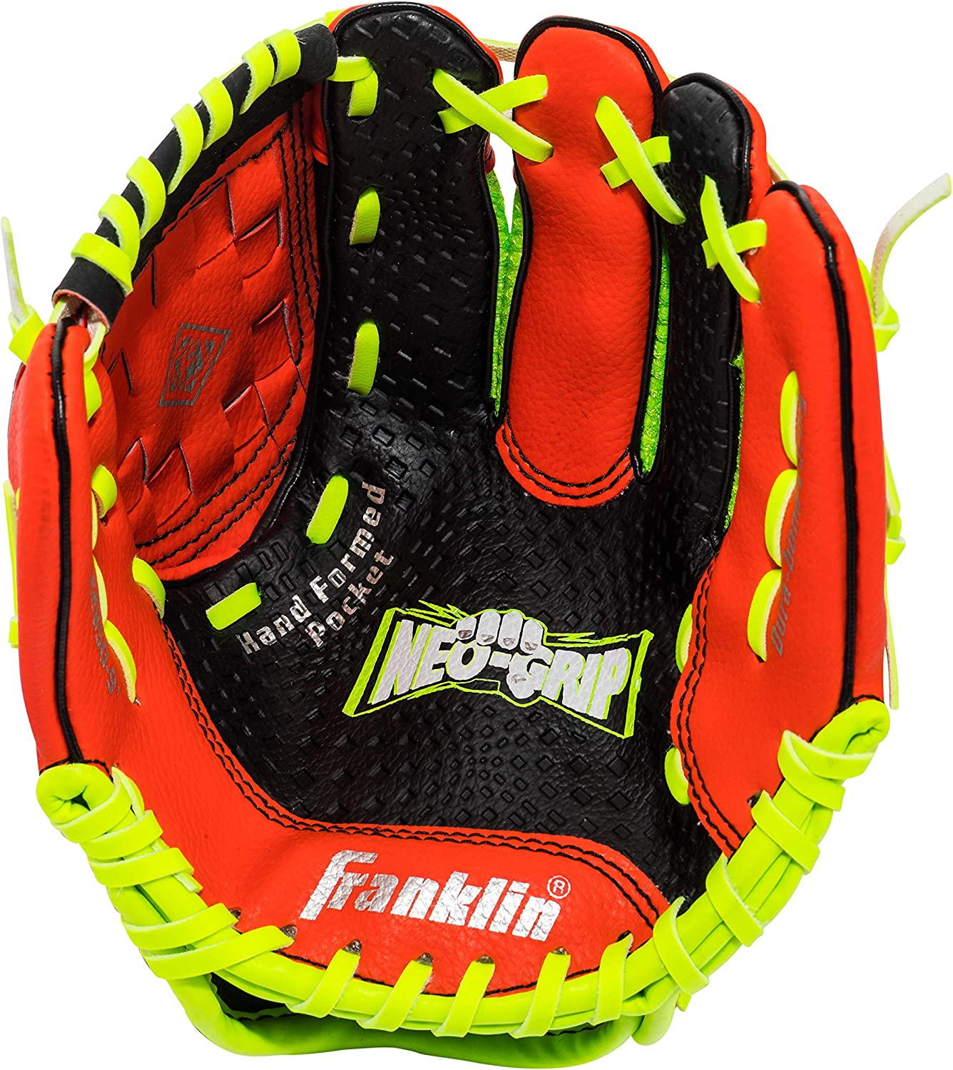 9.0 Inch Franklin Sports Teeball Glove Left and Right Handed Youth Fielding Glove Ready To Play Glove with Ball Synthetic Leather Baseball Glove Neo-Grip
