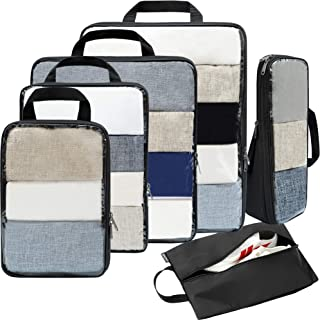 Bagail 4 Set/6 Set Compression Packing Cubes Travel Expandable Packing Organizers(Clear,6 Set)