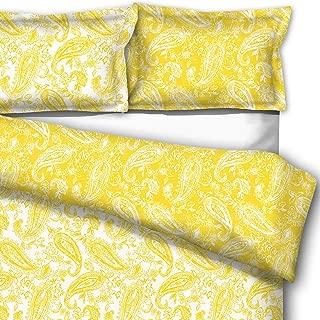 downluxe 3-Piece Down Alternative Comforter Set Queen - Reversible Paisley Design Comforter with 2 Pillow Shams, Lemon